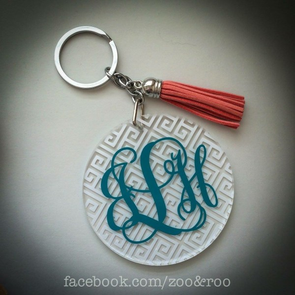 vine monogram keychain greek key acrylic tassel
