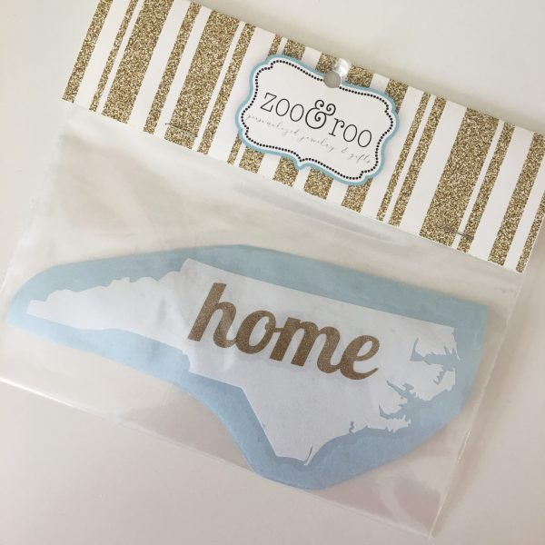 NC decal home white with gold letters