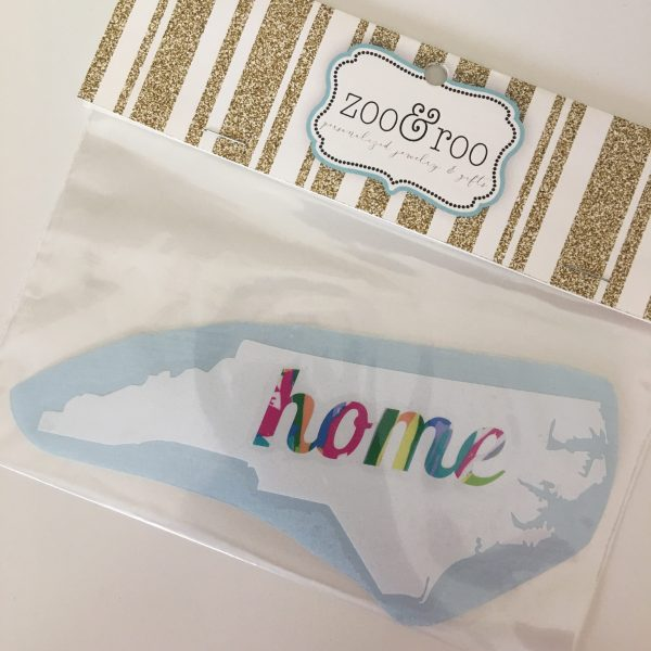 NC decal home white with pattern letters