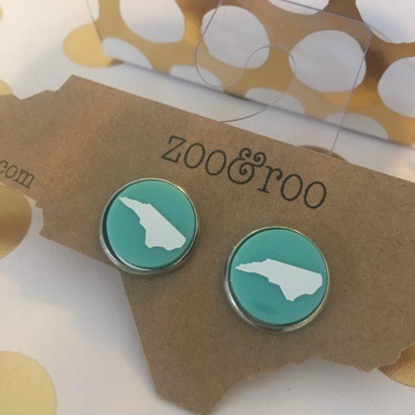 aqua earrings with white NC