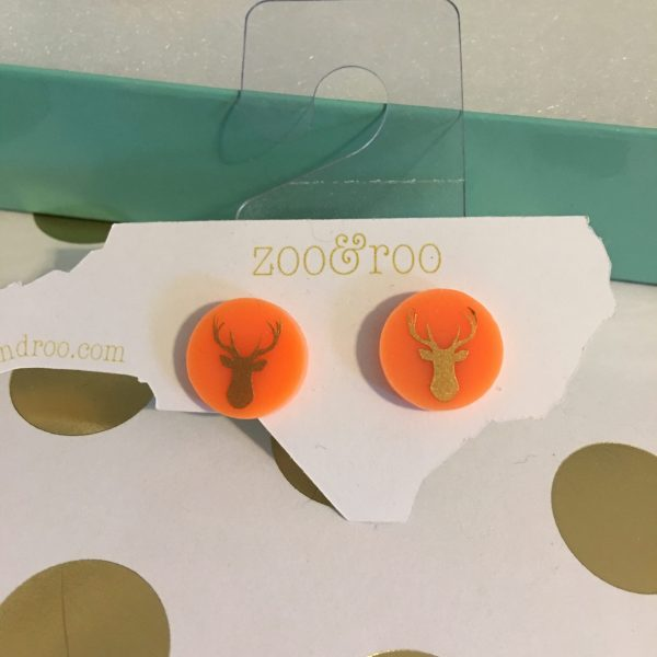 deer earrings orange gold