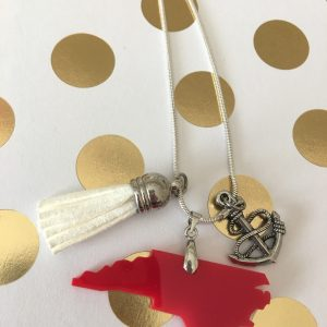 necklace NC red anchor tassel