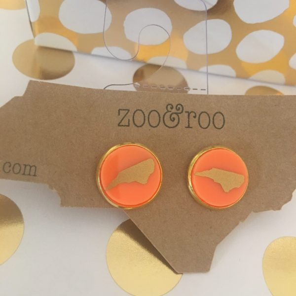 orange earrings with gold NC