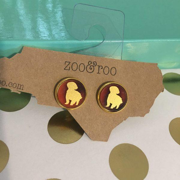 shih-tzu earring tortoise with gold