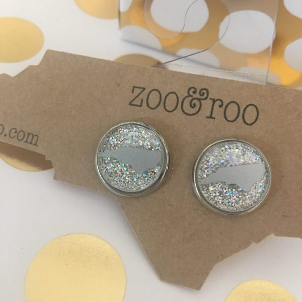 silver AB glitter earrings with silver NC
