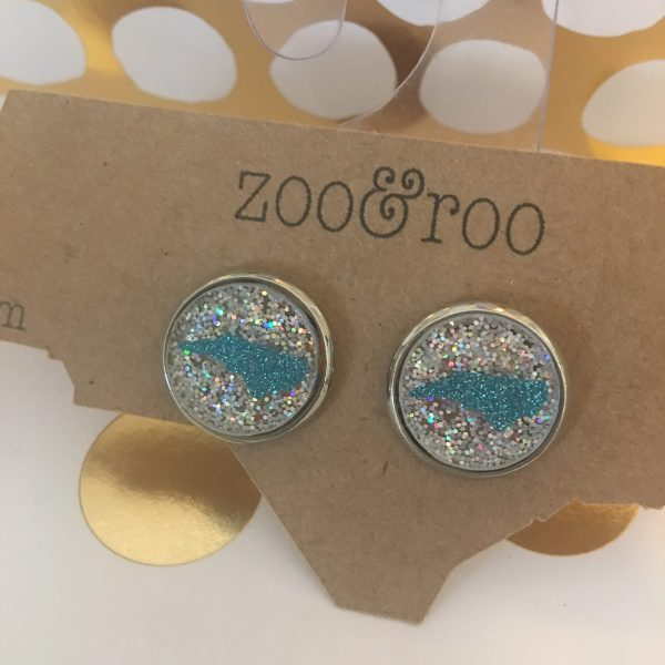 silver AB glitter earrings with teal glitter NC