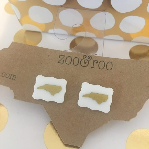 white rectangle earrings with gold NC