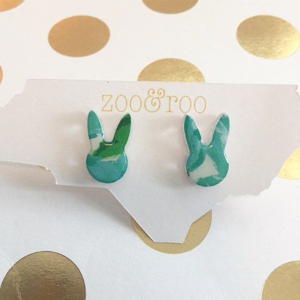 bunny earrings in Lilly inspired print by zoo&roo