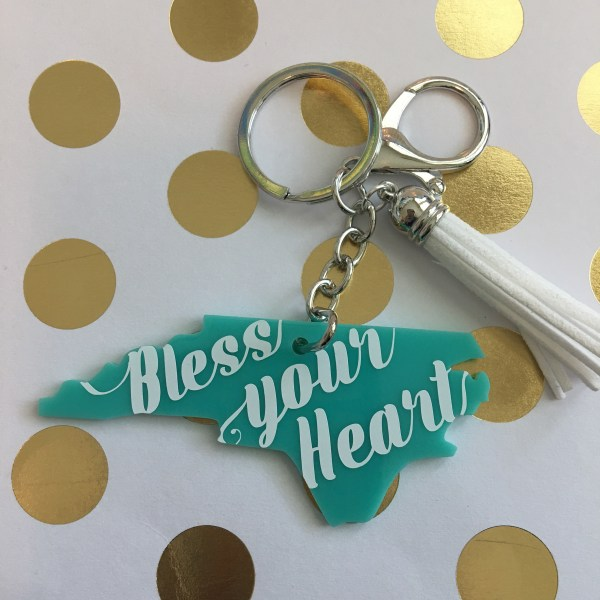 NC bless your heart keychain with tassel by zoo&roo