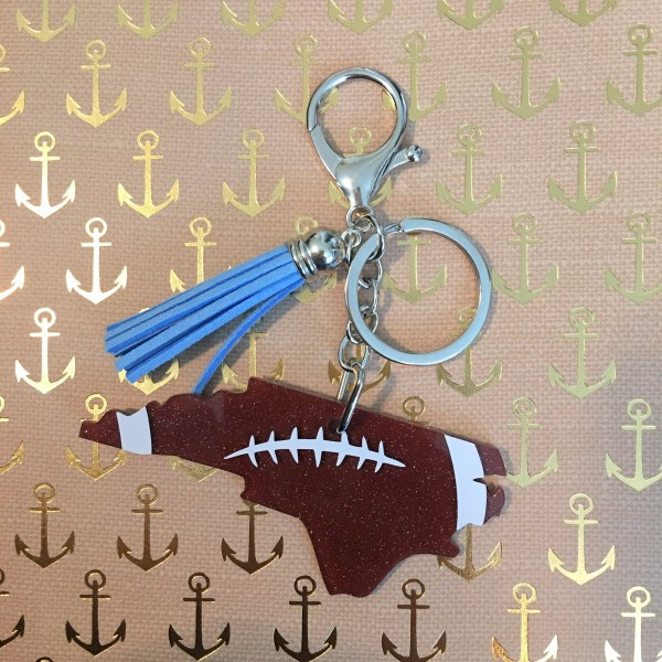 NC football blue tassel keychain by zoo&roo