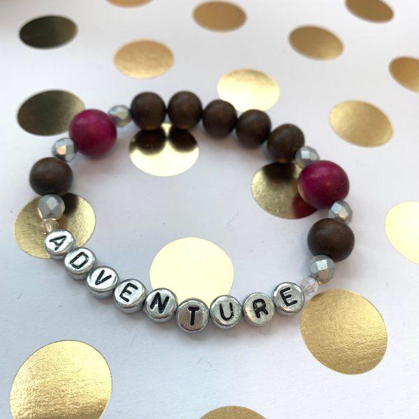 adventure wood bead bracelet