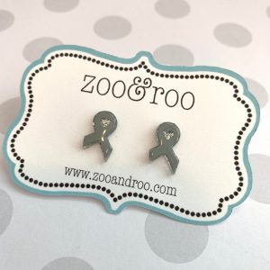 gray ribbon earrings for brain tumor awareness