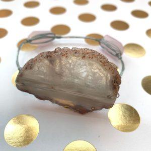large quartz slice wire wrapped bracelet