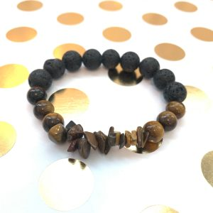 lava & tiger eye bead essential oil diffuser bracelet