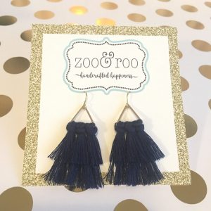 navy tassel triangle earrings
