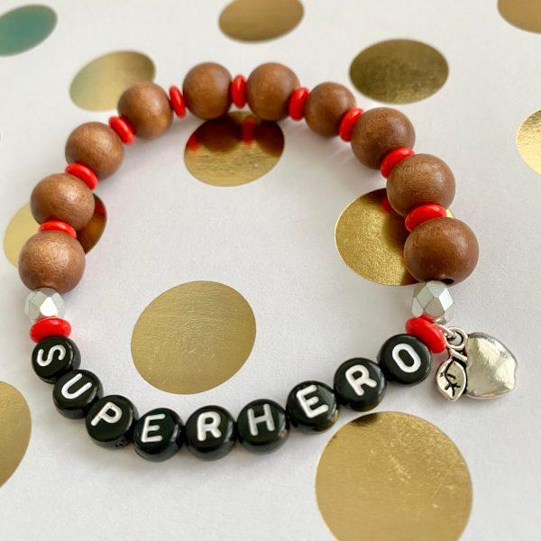 superhero wood bead bracelet
