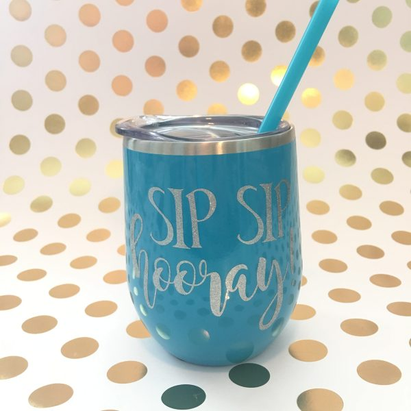 sip sip hooray aqua with silver glitter