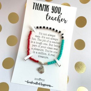 thank you teacher card with bracelet by zoo&roo