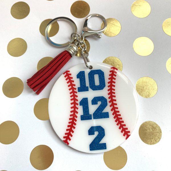 baseball number keychain