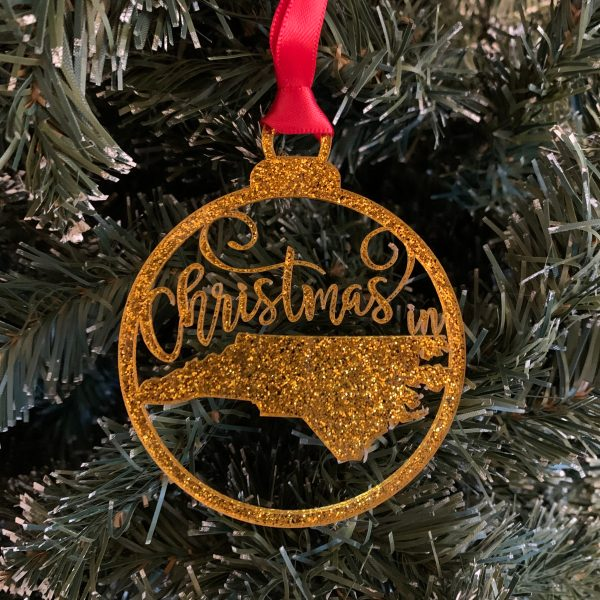 Christmas in NC gold glitter acrylic ornament