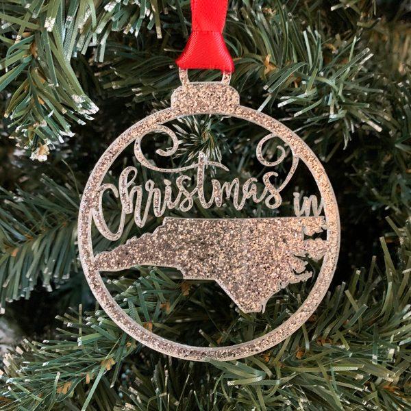 Christmas in NC silver glitter acrylic ornament