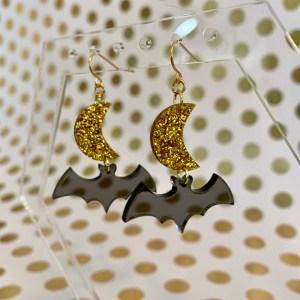 moon and bat gold glitter earrings