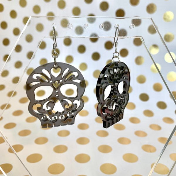 translucent gray sugar skull earrings