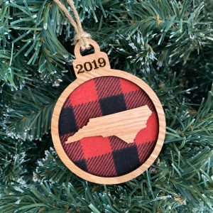 buffalo plaid and wood NC ornament