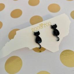 black glitter acrylic cat earrings