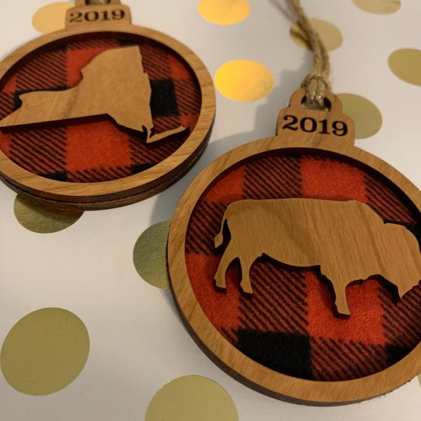 buffalo plaid and wood ornaments New York