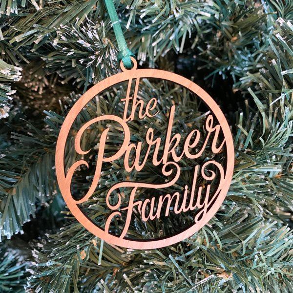 custom name ornament cherry wood