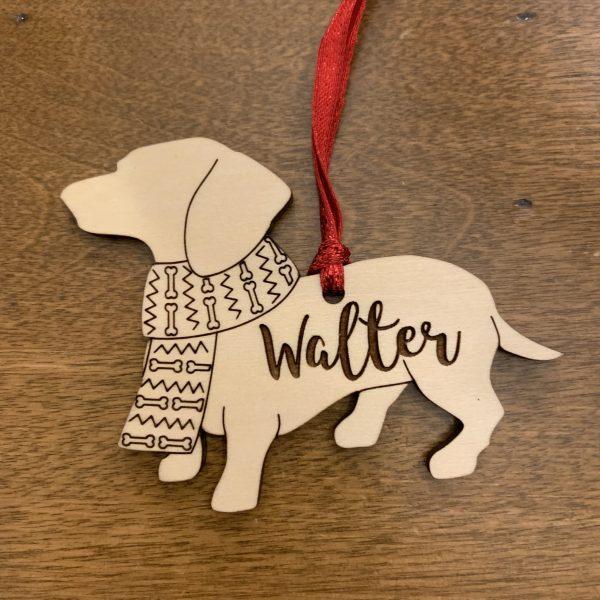 daschund dog breed wood ornament