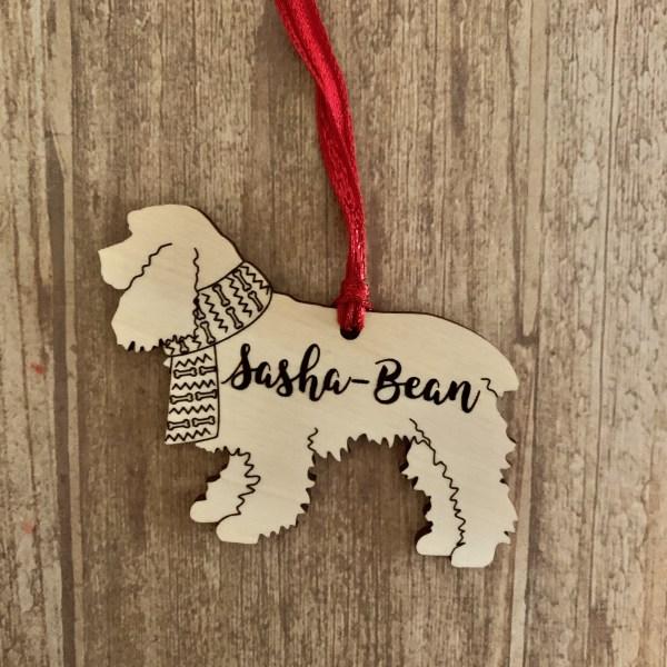 Cocker Spaniel personalized wood Christmas ornament