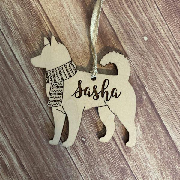 husky custom dog breed ornament