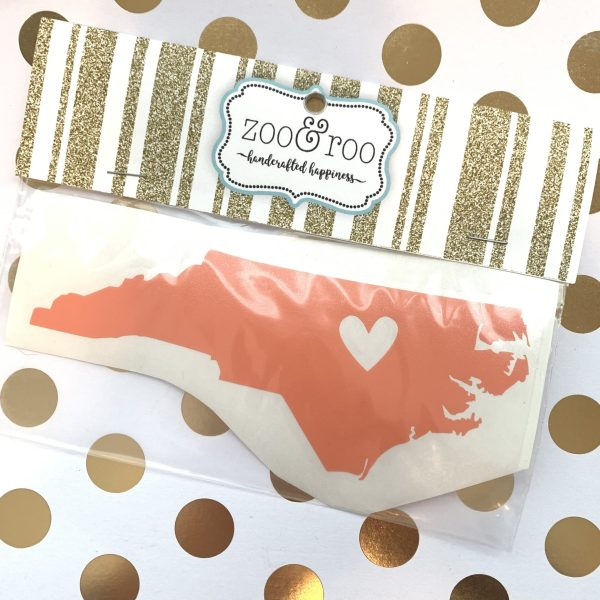 NC heart decal coral