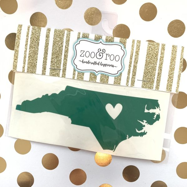 NC heart decal green