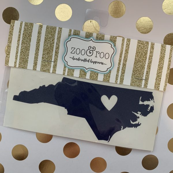 NC heart decal navy