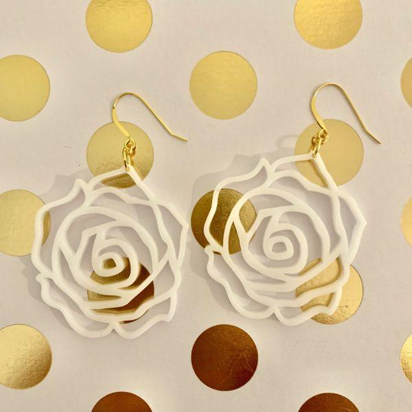 acrylic white rose earrings