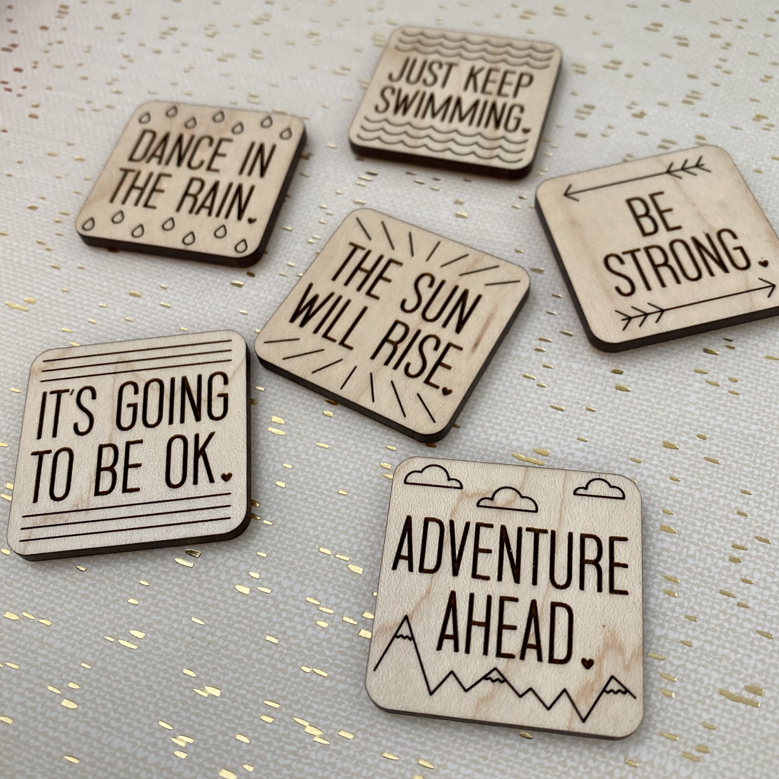 positive message handmade wood magnets