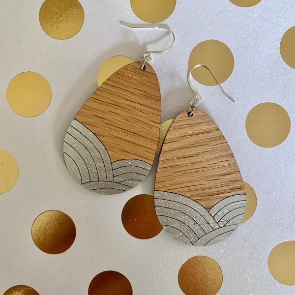 red oak with silver wood teardrop earrings