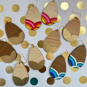 gold leaf hand painted wood teardrop earrings