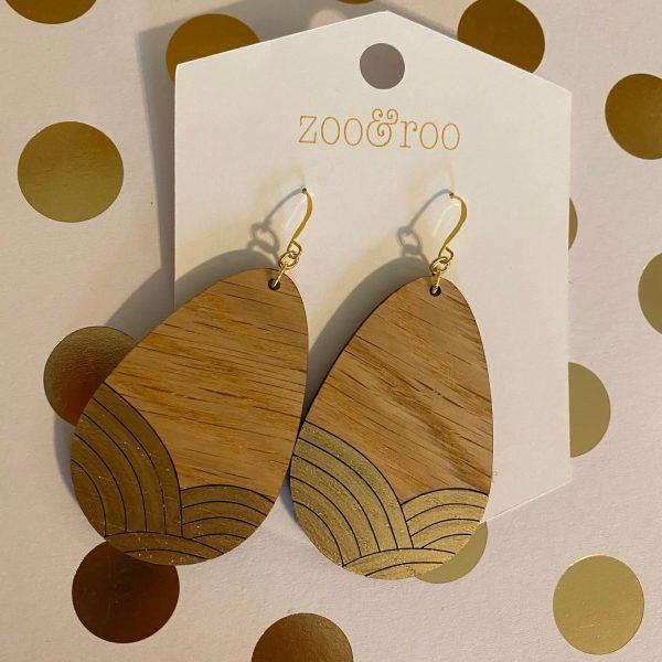 golden sunrise wood teardrop gold leaf earrings red oak