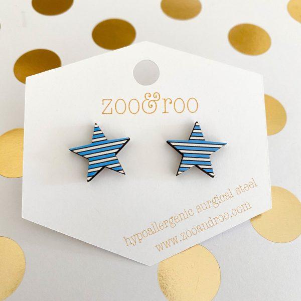 light blue and white wood star earrings