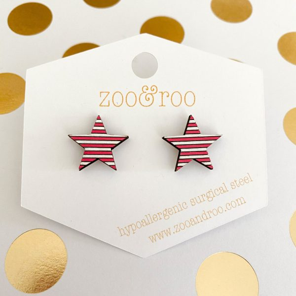 red and white wood star earrings