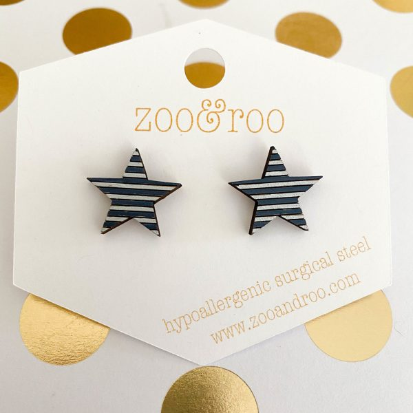 navy and silver wood star earrings