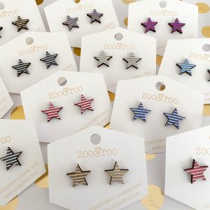 wood star earrings