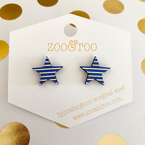 wood star earrings royal blue and white