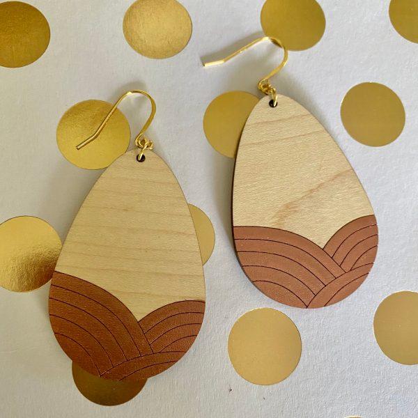 maple with copper teardrop wood earrings