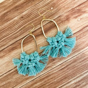 assymetrical macrame earrings gold lake blue