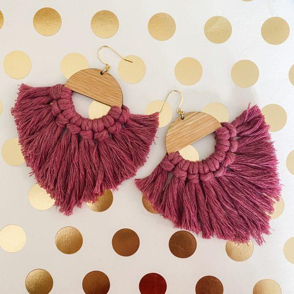 Marrakesh wood tassel earrings magenta